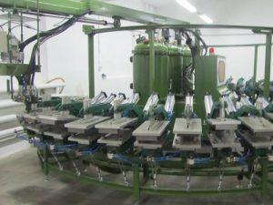 Chaussure de sécurité en PU faisant la chaîne de production de type banane de chaussure de DIP de machine